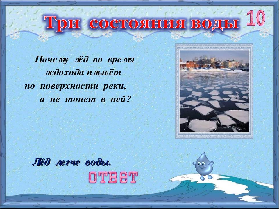 Почему лёд во время ледохода плывёт по поверхности реки, а не тонет в ней? Лё...