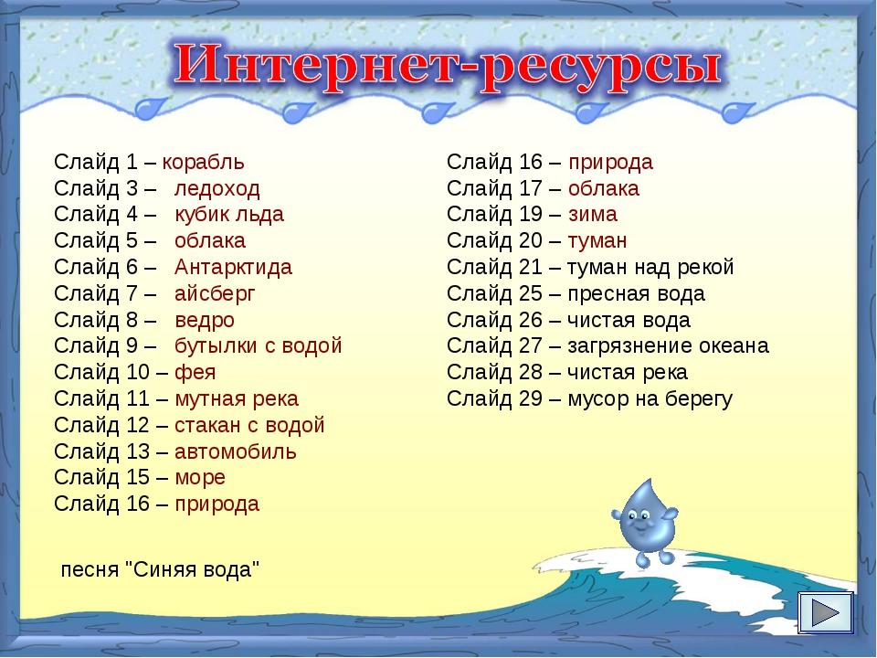 Слайд 1 – корабль Слайд 3 – ледоход Слайд 4 – кубик льда Слайд 5 – облака Сла...