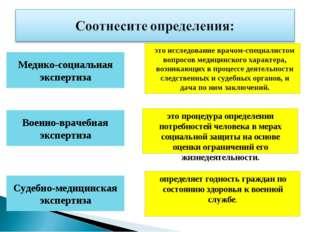 Медико-социальная экспертиза Военно-врачебная экспертиза Судебно-медицинская