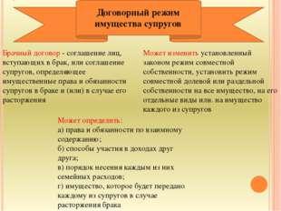 Брачный договор - соглашение лиц, вступающих в брак, или соглашение супругов,