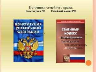 Источники семейного права: Конституция РФ Семейный кодекс РФ