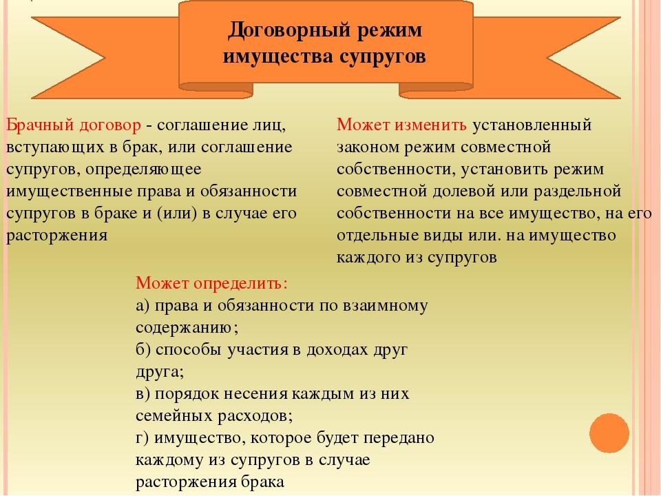 Брачный договор - соглашение лиц, вступающих в брак, или соглашение супругов,...