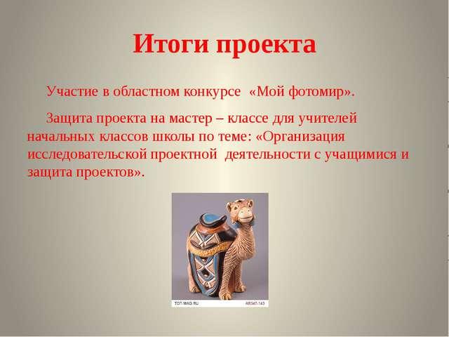 Итоги проекта Участие в областном конкурсе «Мой фотомир». Защита проекта на м...