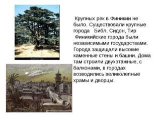 Крупных рек в Финикии не было. Существовали крупные города Библ, Сидон, Тир