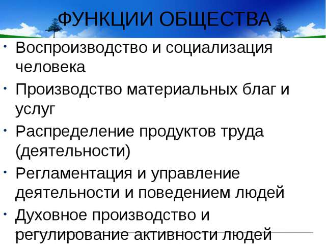 ФУНКЦИИ ОБЩЕСТВА Воспроизводство и социализация человека Производство материа...