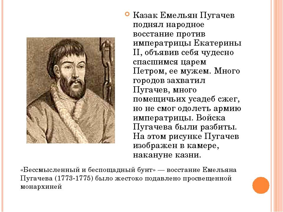 Казак Емельян Пугачев поднял народное восстание против императрицы Екатерины...
