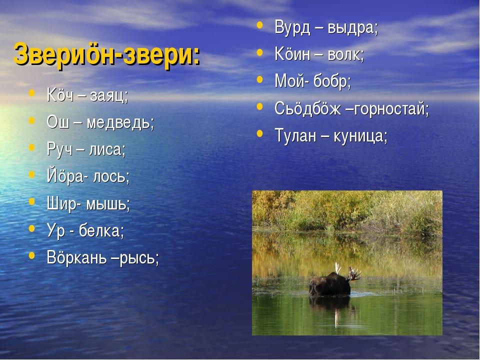 Звериöн-звери: Кöч – заяц; Ош – медведь; Руч – лиса; Йöра- лось; Шир- мышь; У...