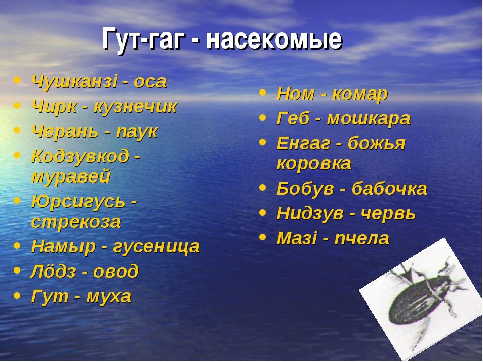 Гут-гаг - насекомые Чушканзi - оса Чирк - кузнечик Черань - паук Кодзувкод -...