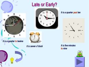 Late or Early? It is a quarter to twelve It is a quarter past ten It is seven