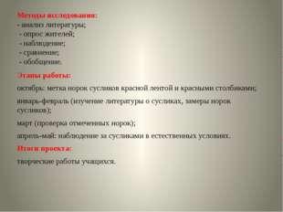 Методы исследования: - анализ литературы; - опрос жителей; - наблюдение; - ср