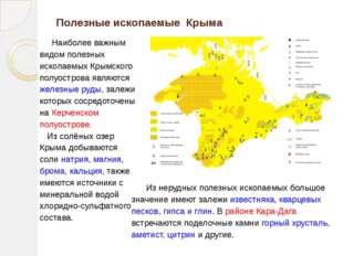 Полезные ископаемые Крыма Наиболее важным видом полезных ископаемых Крымского