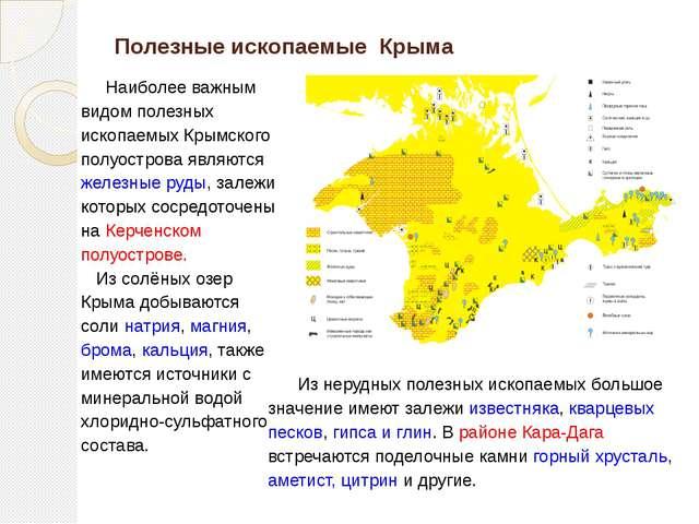 Полезные ископаемые Крыма Наиболее важным видом полезных ископаемых Крымского...