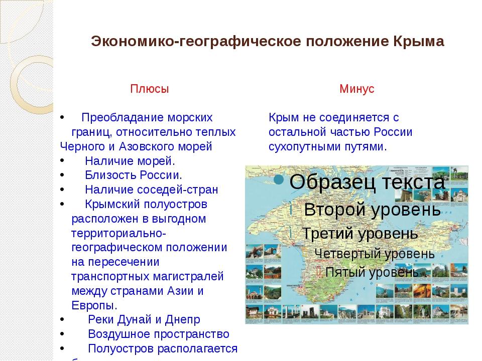 Экономико-географическое положение Крыма Плюсы Преобладание морских границ, о...