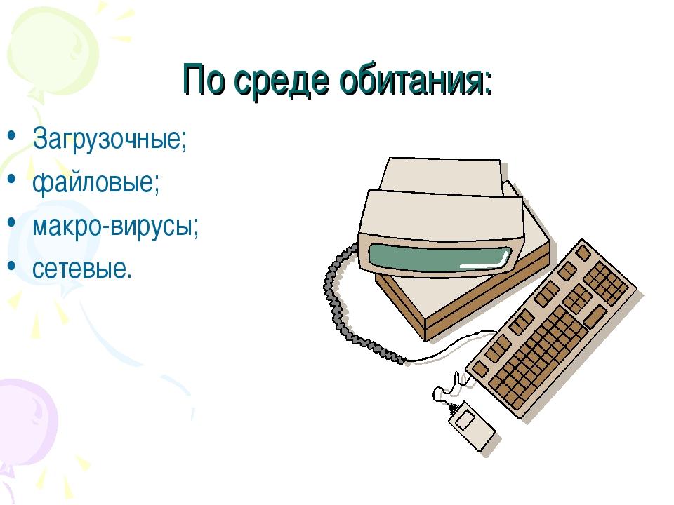 По среде обитания: Загрузочные; файловые; макро-вирусы; сетевые.