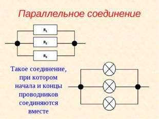 Параллельное соединение Такое соединение, при котором начала и концы проводни
