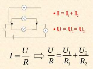 I = I1+ I2 U = U1= U2