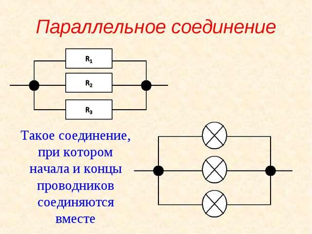 Параллельное соединение Такое соединение, при котором начала и концы проводни...