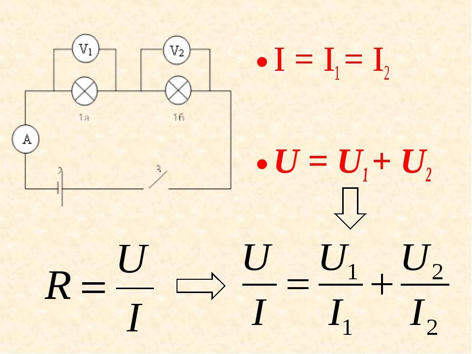 I = I1 = I2 U = U1+ U2