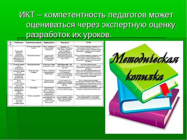 ИКТ – компетентность педагогов может оцениваться через экспертную оценку разр...