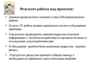 Результат работы над проектом: Данным проектом было охвачено 6 школ Мотовилих