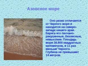 Азовское море Оно резко отличается от Черного моря и находится на северо-запа