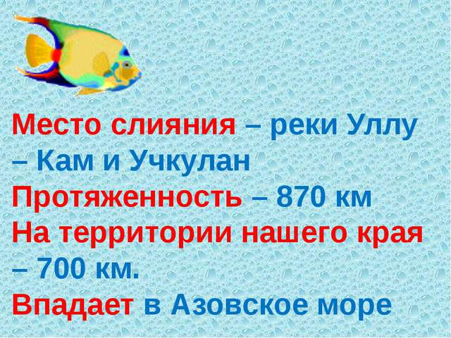 Место слияния – реки Уллу – Кам и Учкулан Протяженность – 870 км На территори...