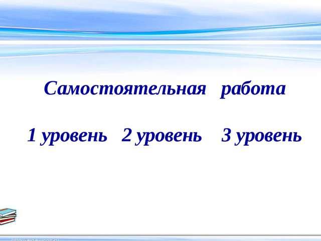 Самостоятельная работа 1 уровень 2 уровень 3 уровень