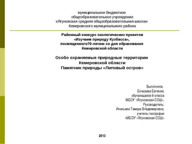 муниципальное бюджетное общеобразовательное учреждение «Ягуновская средняя о...