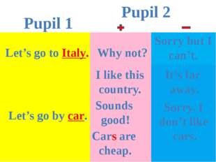 Pupil 1 Pupil 2 Let's go to Italy. Why not? Sorry but I can't. I like this co