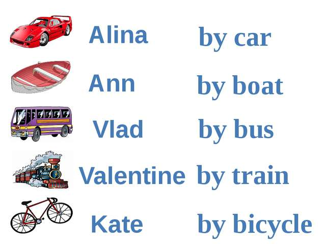 by car by boat by bus by train by bicycle Ann Alina Kate Vlad Valentine