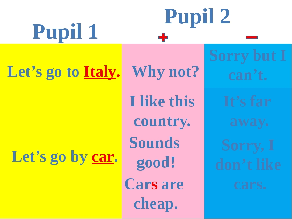 Pupil 1 Pupil 2 Let's go to Italy. Why not? Sorry but I can't. I like this co...