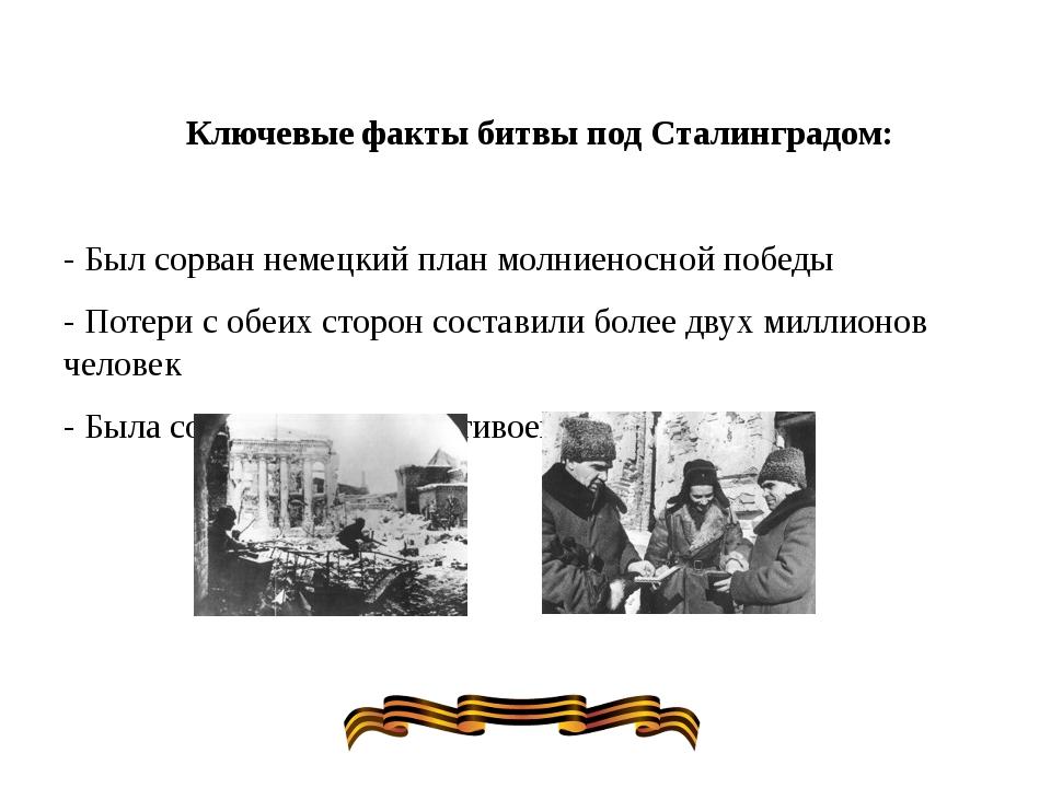 Ключевые факты битвы под Сталинградом: - Был сорван немецкий план молниеносно...