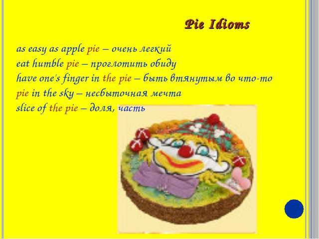 Pie Idioms as easy as apple pie – очень легкий eat humble pie – проглотить о...