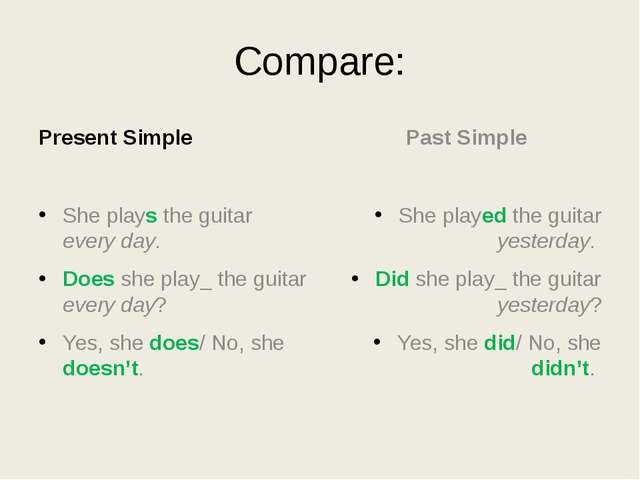 Compare: Present Simple She plays the guitar every day. Does she play_ the gu...