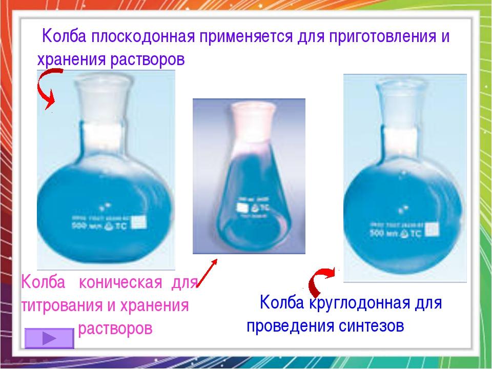 Колба плоскодонная применяется для приготовления и хранения растворов Колба...