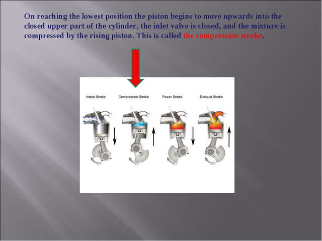 On reaching the lowest position the piston begins to move upwards into the cl...