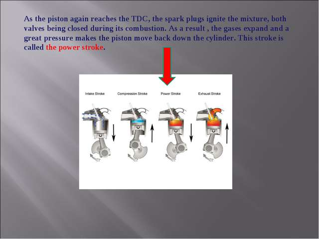 As the piston again reaches the TDC, the spark plugs ignite the mixture, both...