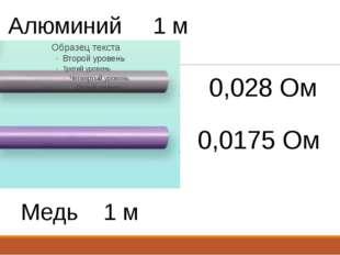 Алюминий 1 м Медь 1 м 1 мм2 1 мм2 0,028 Ом 0,0175 Ом