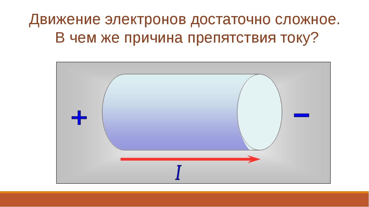- - - - - - - Движение электронов достаточно сложное. В чем же причина препят...