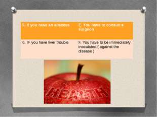5.If you have an abscess E.You have to consult a surgeon 6.IF you have liver