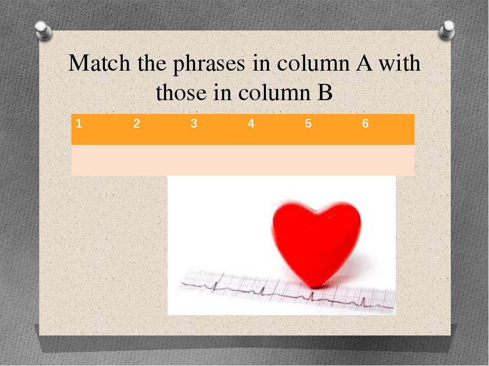 Match the phrases in column A with those in column B 1 2 3 4 5 6