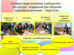 Сетевое педагогическое сообщество – это ресурс, созданный для общения единомы