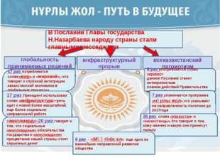 В Послании Главы государства Н.Назарбаева народу страны стали главными мессе
