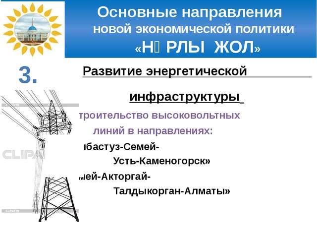 Основные направления новой экономической политики «НҰРЛЫ ЖОЛ» Развитие энерг...