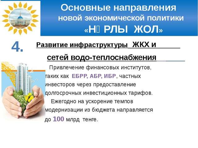 Основные направления новой экономической политики «НҰРЛЫ ЖОЛ» Развитие инфра...