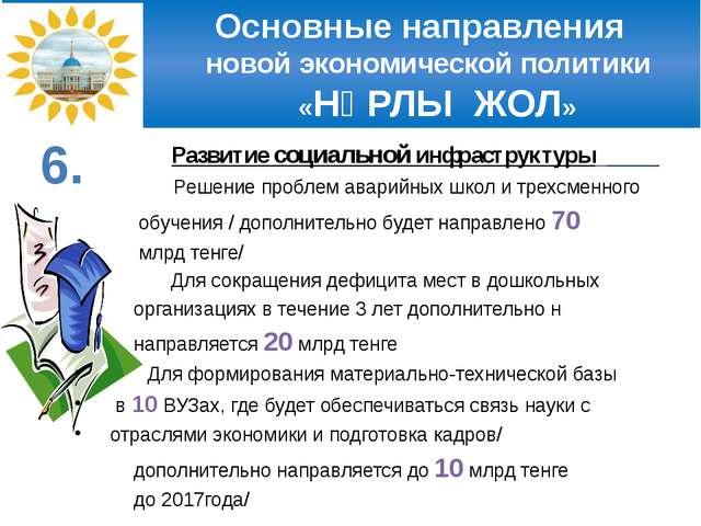 Основные направления новой экономической политики «НҰРЛЫ ЖОЛ» Развитие социа...