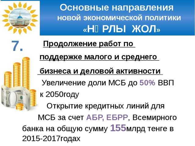 Основные направления новой экономической политики «НҰРЛЫ ЖОЛ» Продолжение ра...