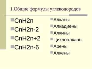 1.Общие формулы углеводородов СnН2n СnН2n-2 CnH2n+2 CnH2n-6 Алканы Алкадиены