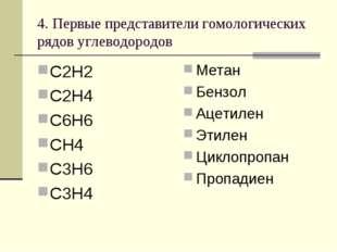 4. Первые представители гомологических рядов углеводородов С2Н2 С2Н4 С6Н6 СН4