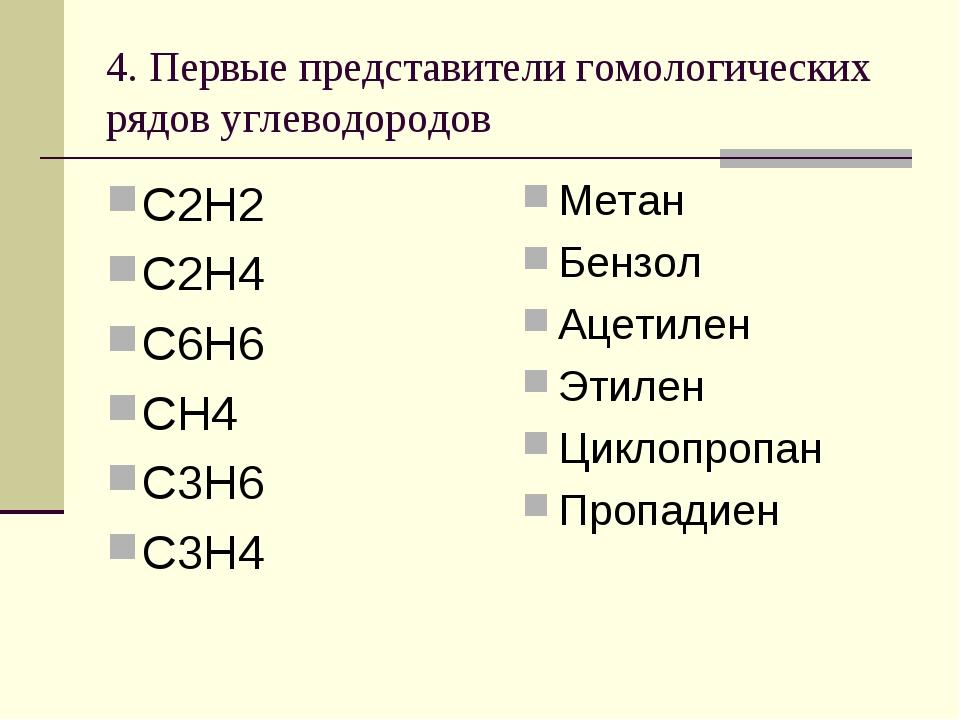 4. Первые представители гомологических рядов углеводородов С2Н2 С2Н4 С6Н6 СН4...